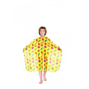 """Пеньюар для стрижки DEWAL """"Зоопарк"""" детский полиэстр, желтый 95*120 см на крючках AP28"""