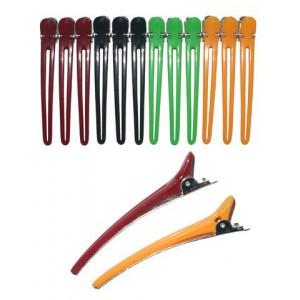 Зажим для волос DEWAL метал/нейлон цветной 8 см 1 шт CL2403
