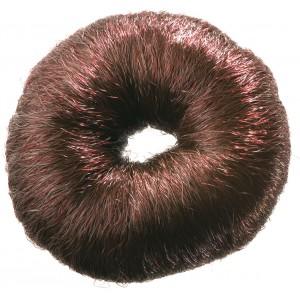Валик для прически DEWAL круглый коричневый  искусственный волос НО-5115 Brown