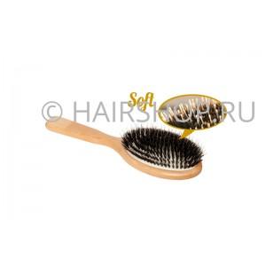 Щетка д/наращен. волос 180мм нат.щетина/бук SOFT, Корея Hairshop