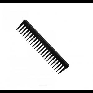 Расчёска-гребень из пластмасы чёрного цвета с редкими зубцами. 00455