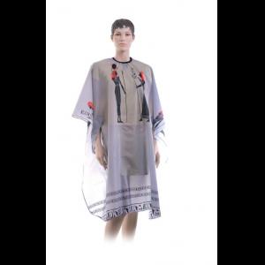 """Пеньюар для стрижки DEWAL """"Египет"""" серый с прорезями на крючках 124*146 см АР10А37-D1"""