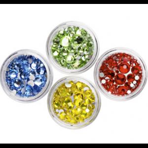 Стразы стеклянные с гранями цветные Микс размеров в баночке (в ассортименте) IRISK Д015-13
