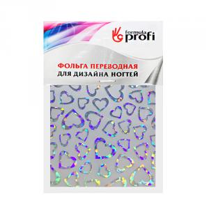 Фольга переводная голографическая с рисунком сердечкии 6*12 см TGR-03 Формула-Профи