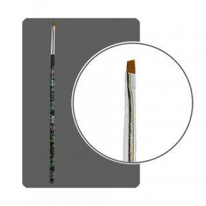Кисть прямая для китайской росписи с цветной ручкой скошенная №2 КРРС-2 Формула-Профи