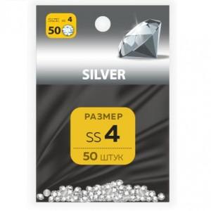 Стразы хрустальные размер SS4 SILVER 50 шт MILV