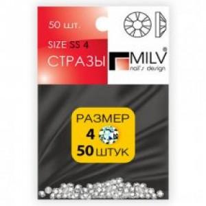 Стразы хрустальные размер SS4 серебро 4мм  50 шт MILV